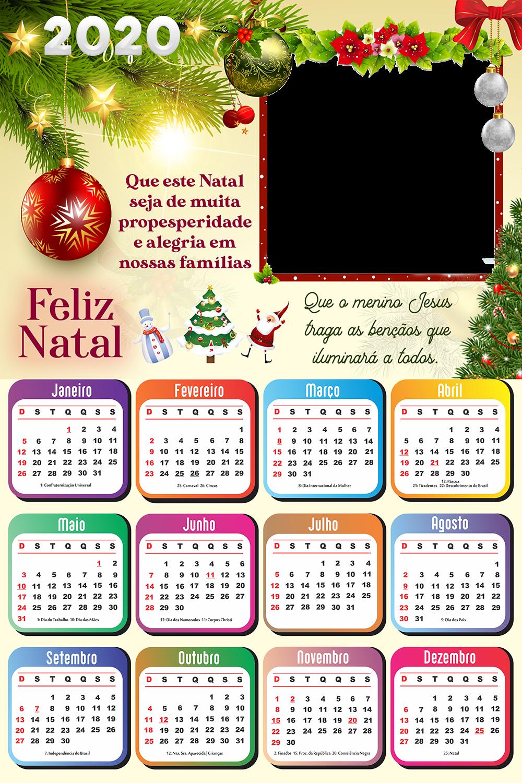 Calendário 2020 Frase De Feliz Natal Imagem Legal Frase