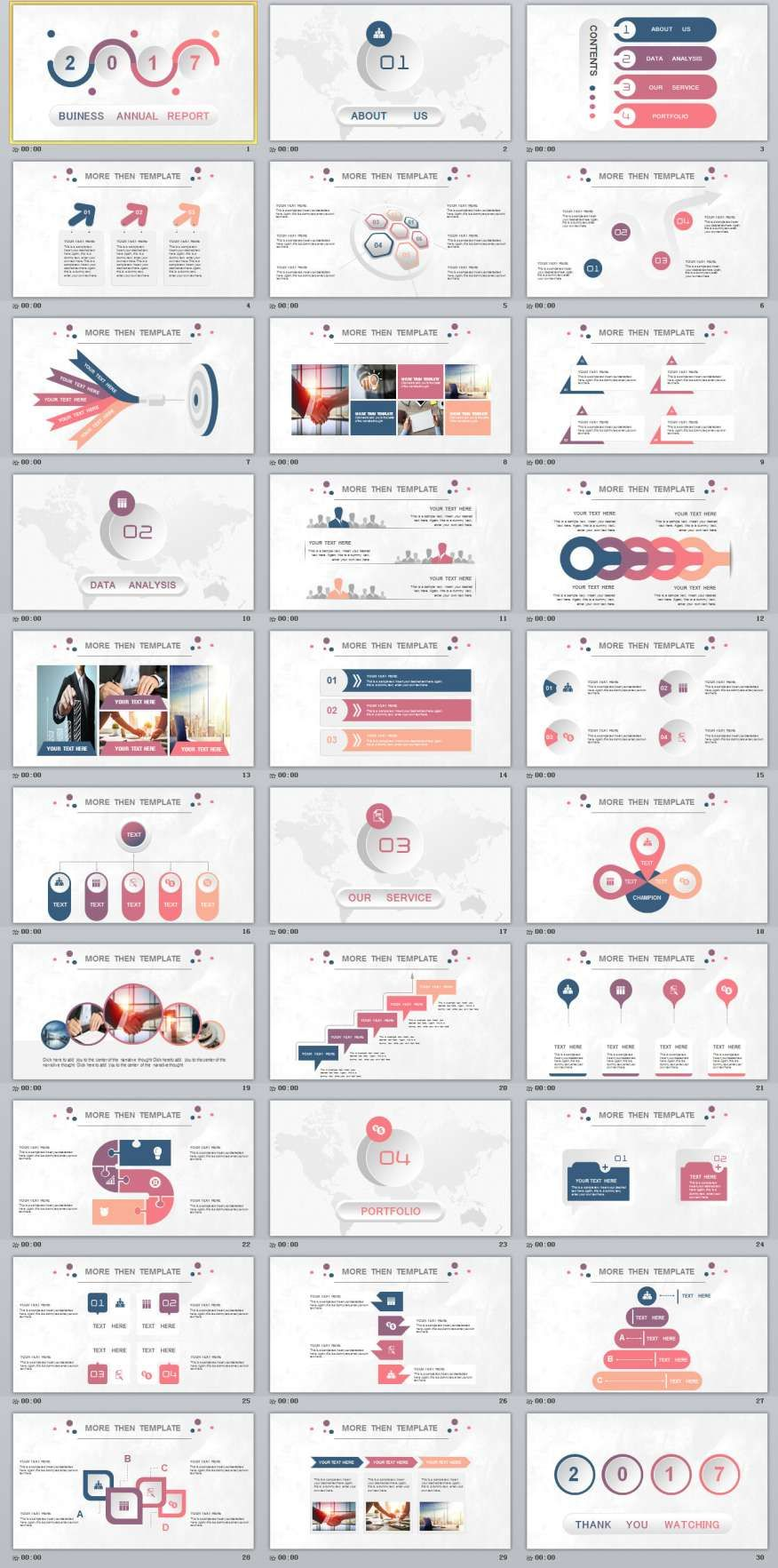 30 multicolor Business report PowerPoint templatesThe highest quality PowerPoint Templates and Keynote Templates download