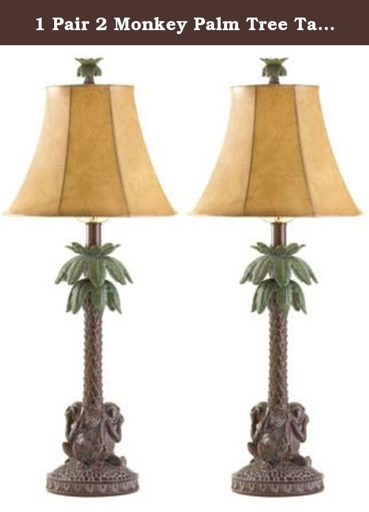 1 Pair 2 Monkey Palm Tree Table Lamp Lighting Light W Shade The Rich Mahogany Trunk Of A Tropical Palm Holds A Stretched Animal Ski Lamp Tree Lamp Table Lamp