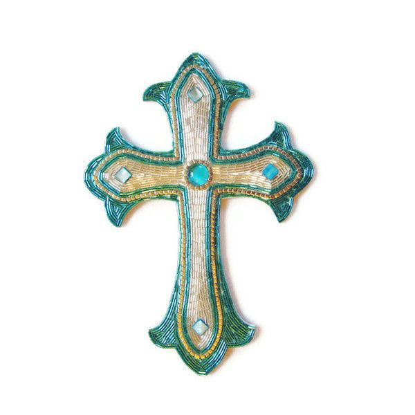 Cross Wall Hanging beaded mosaic cross renaissance art mosaic art religious art wood