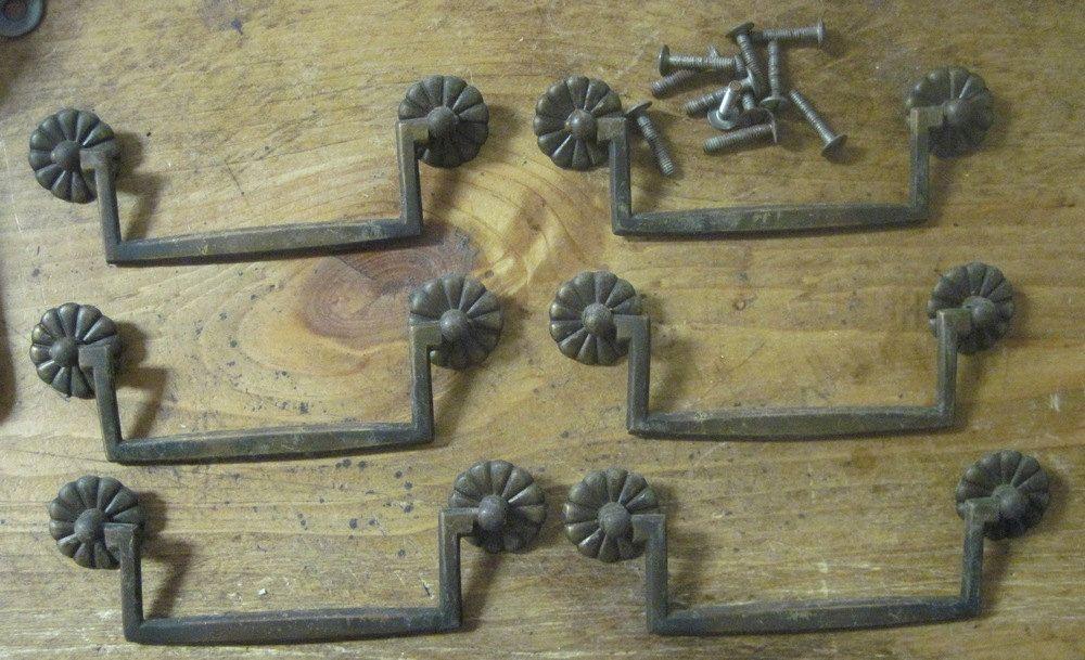 Set of 6 original 4 1/2 inch center drawer pulls. | \