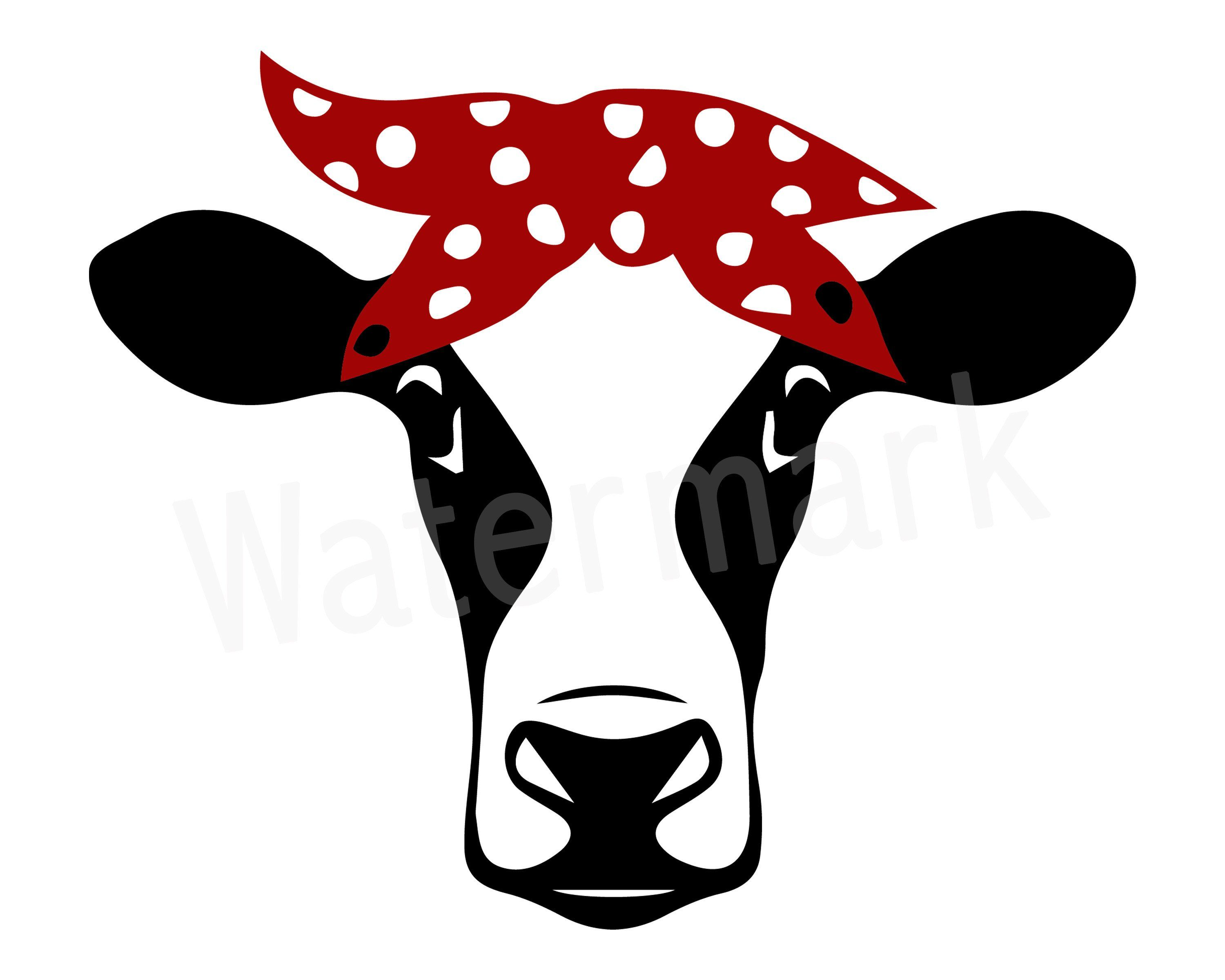 Cow Heifer with Polkadot Bow Hair Tie, Cow With Bandana