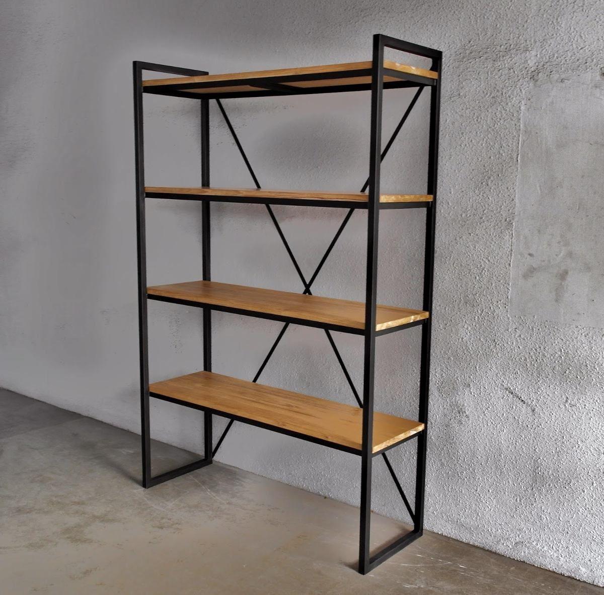 Estanteria madera hierro mesa consola ratona biblioteca - Estanterias de hierro ...