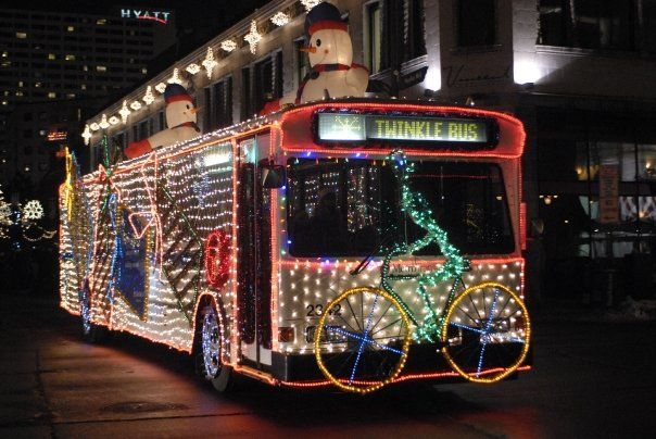 Metro Transit's Twinkle Bus makes it way down the Holidazzle