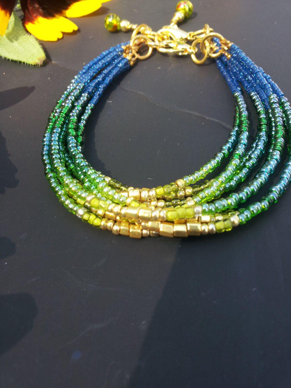 Very Seed bead bracelet, Customizable Gift set, Green Ombre jewelry  EW67