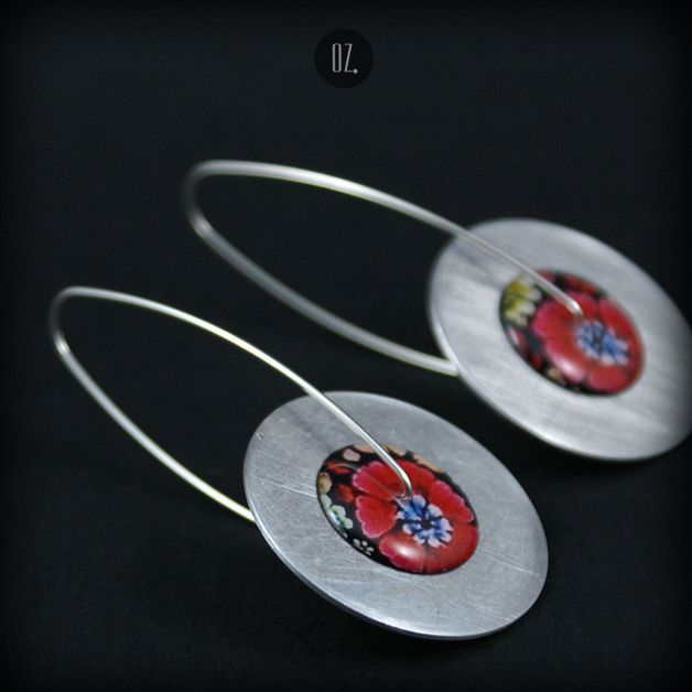 Circles Poppy - długie kolczyki - Olga-Zielinska - Kolczyki długie