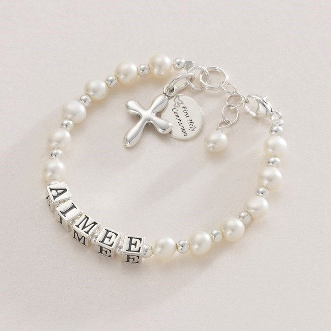 Personalised Rosary Beads Pink Hearts First Communion Gift for Girl Prayer