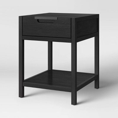 Porto Wood End Table With Drawer Black Project 62 In 2020 End Tables With Drawers Wood End Tables Black End Tables