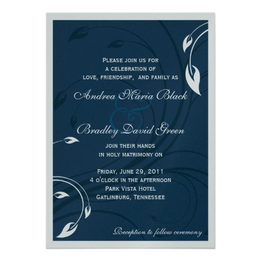 Elegant Marine Blue & Silver Wedding Invitation