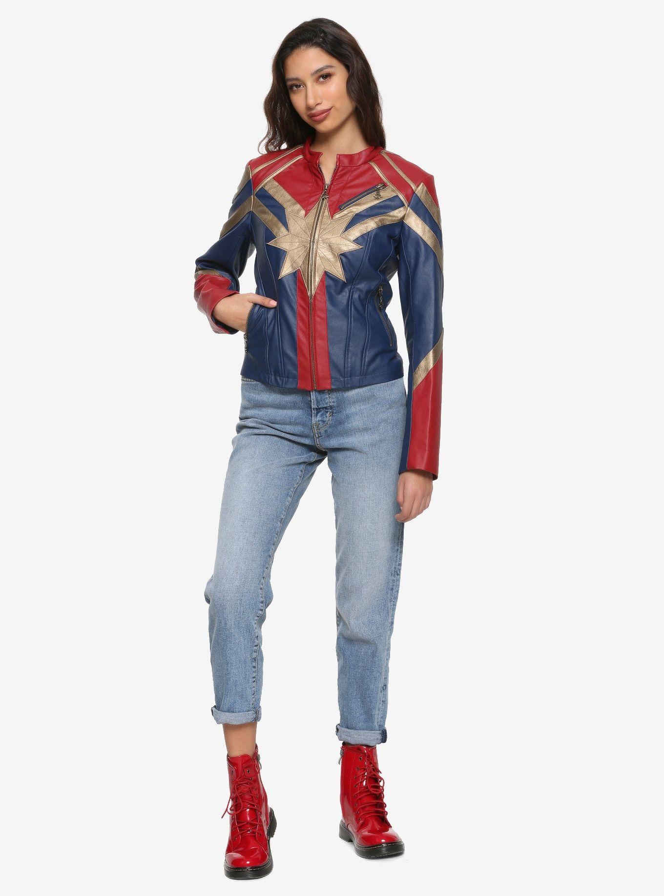 Her Universe Marvel Captain Marvel Star Girls Faux Leather Jacket Leather Jackets Women Marvel Jacket Captain Marvel Costume [ 1836 x 1360 Pixel ]