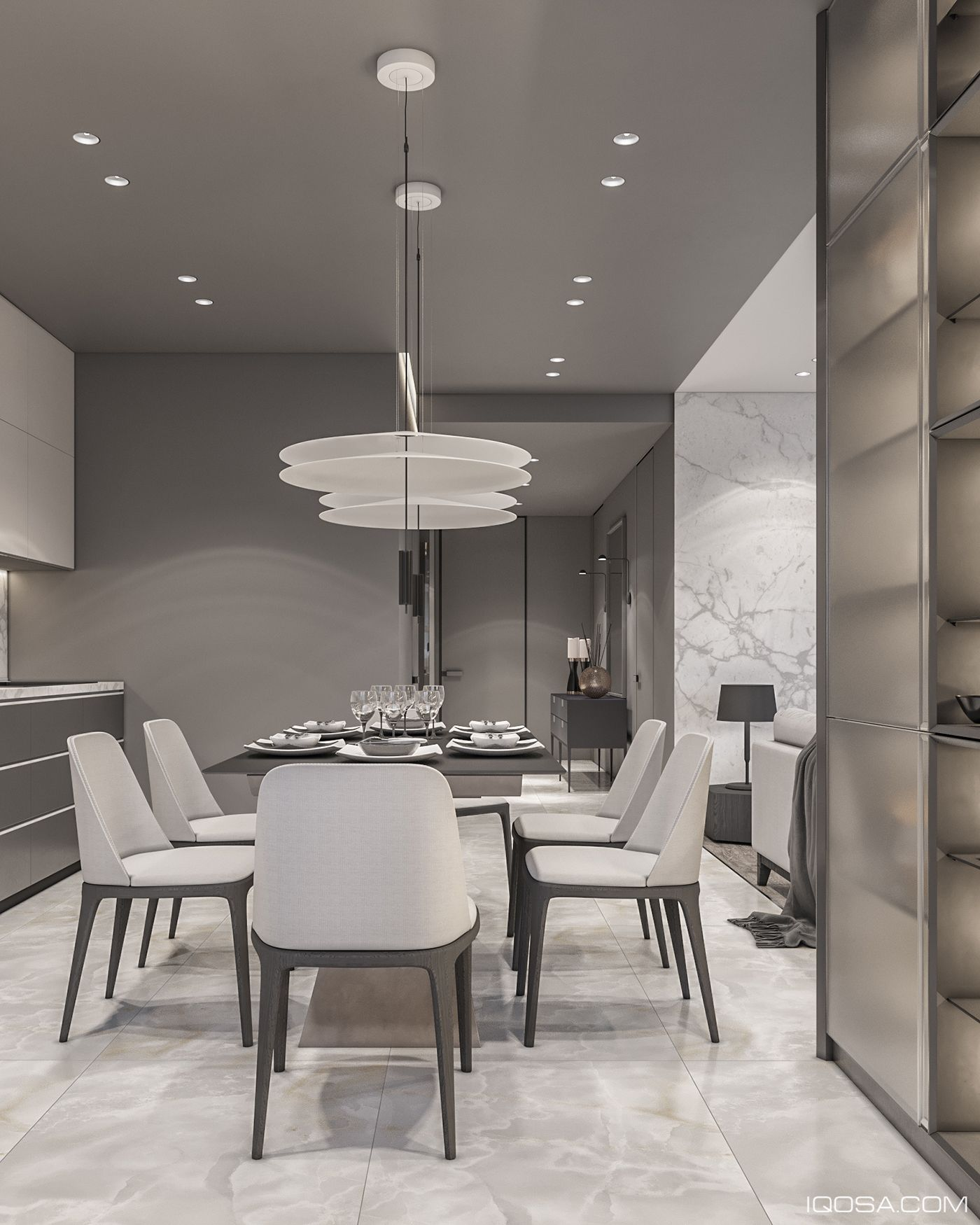20 Dining Room And Kitchen Interior Combo Ideas 18307: Monochrome Apartment On Behance In 2019