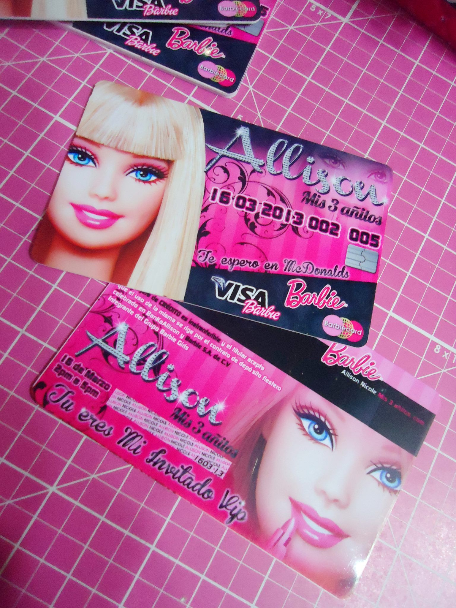 Barbie PVC Credit Card as an invitation for party | MY CRAFTS ...