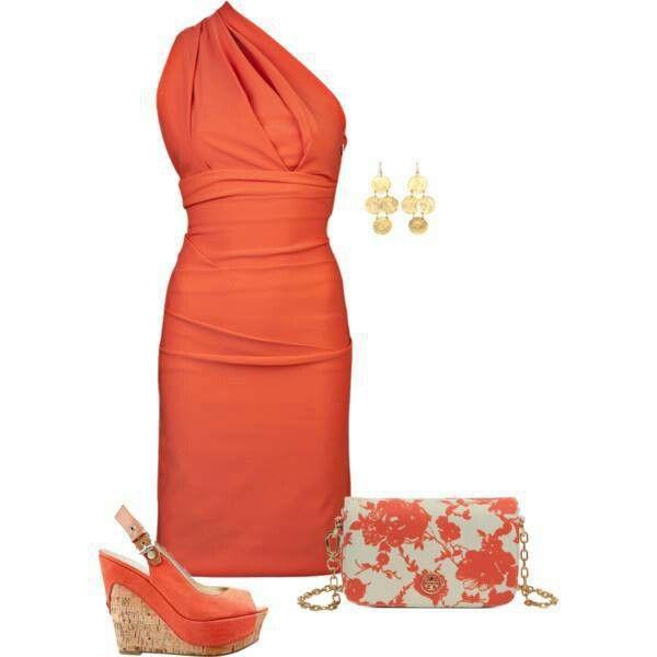 Orange dress shoes and floral bag