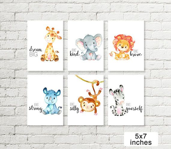 Safari Nursery Print Giraffe Elephant Lion Rhino Monkey Zebra Jungle ...