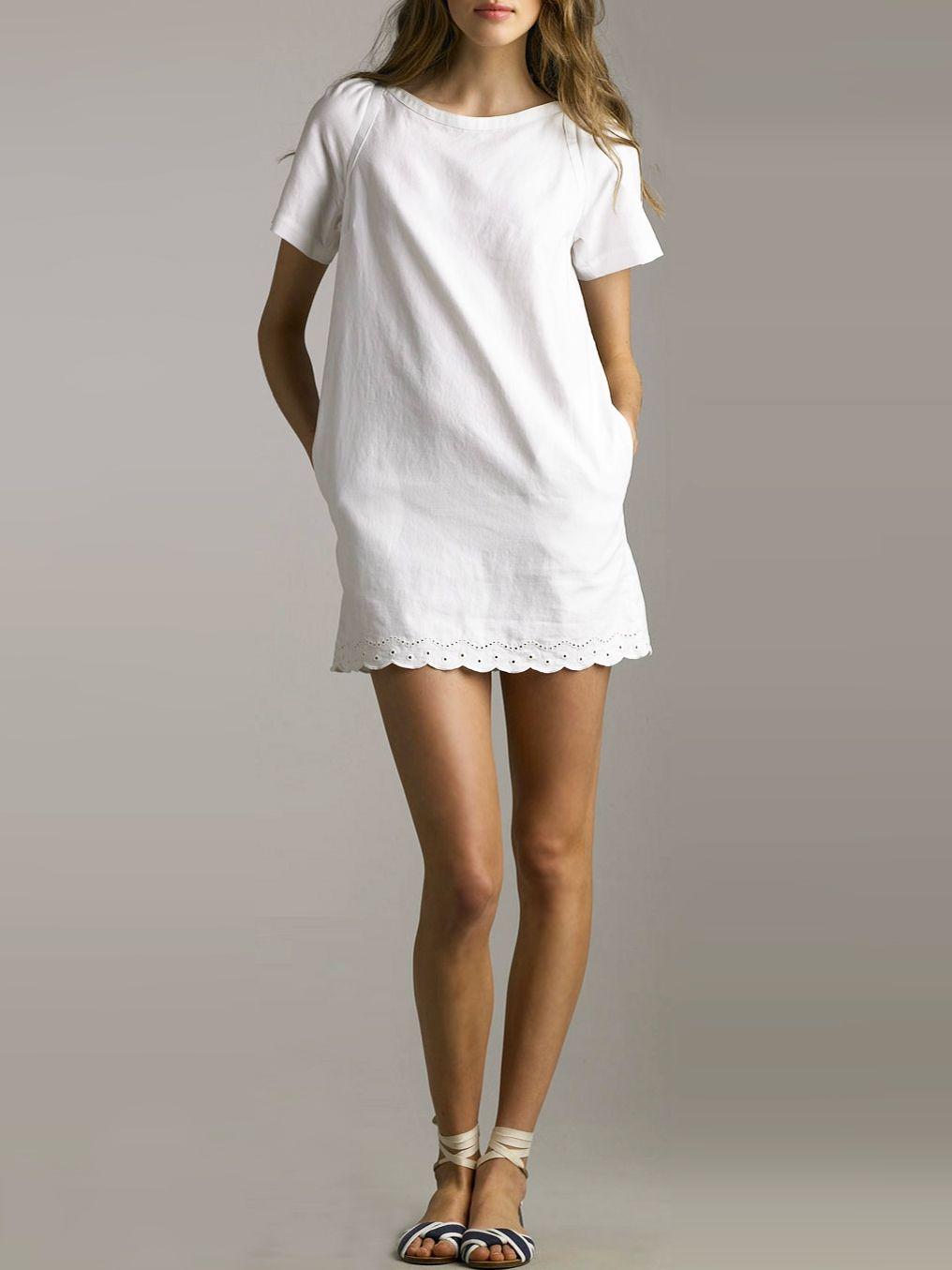 See By Chloe Scalloped Cotton Linen Shift Dress [ 1355 x 1016 Pixel ]