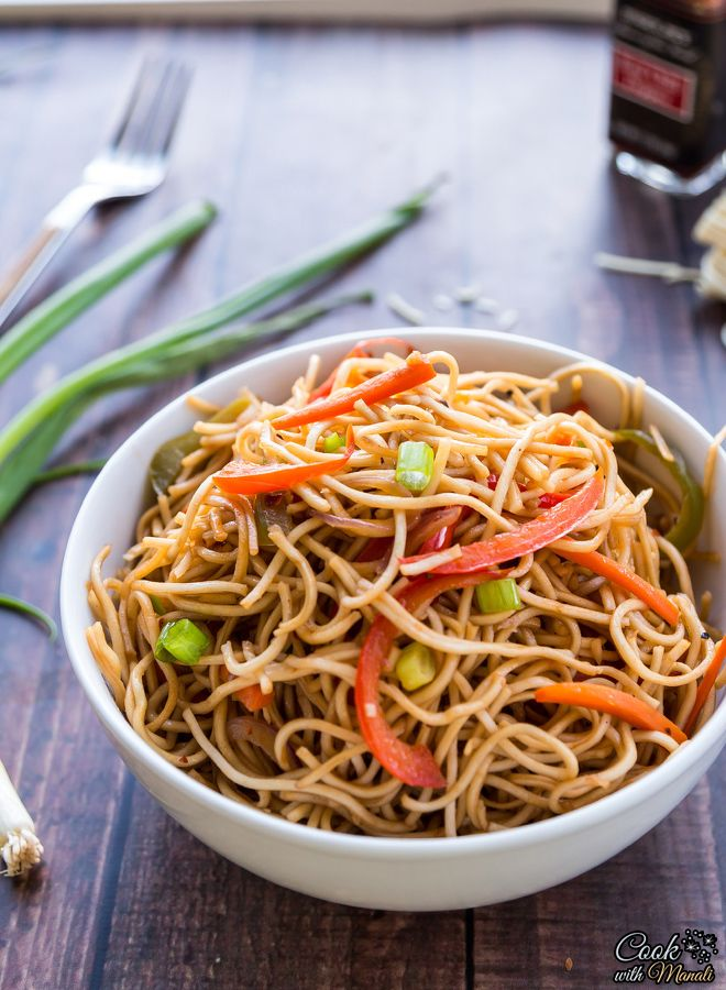 Vegetarian Hakka Noodles With Onion Carrots And Bell Pepper