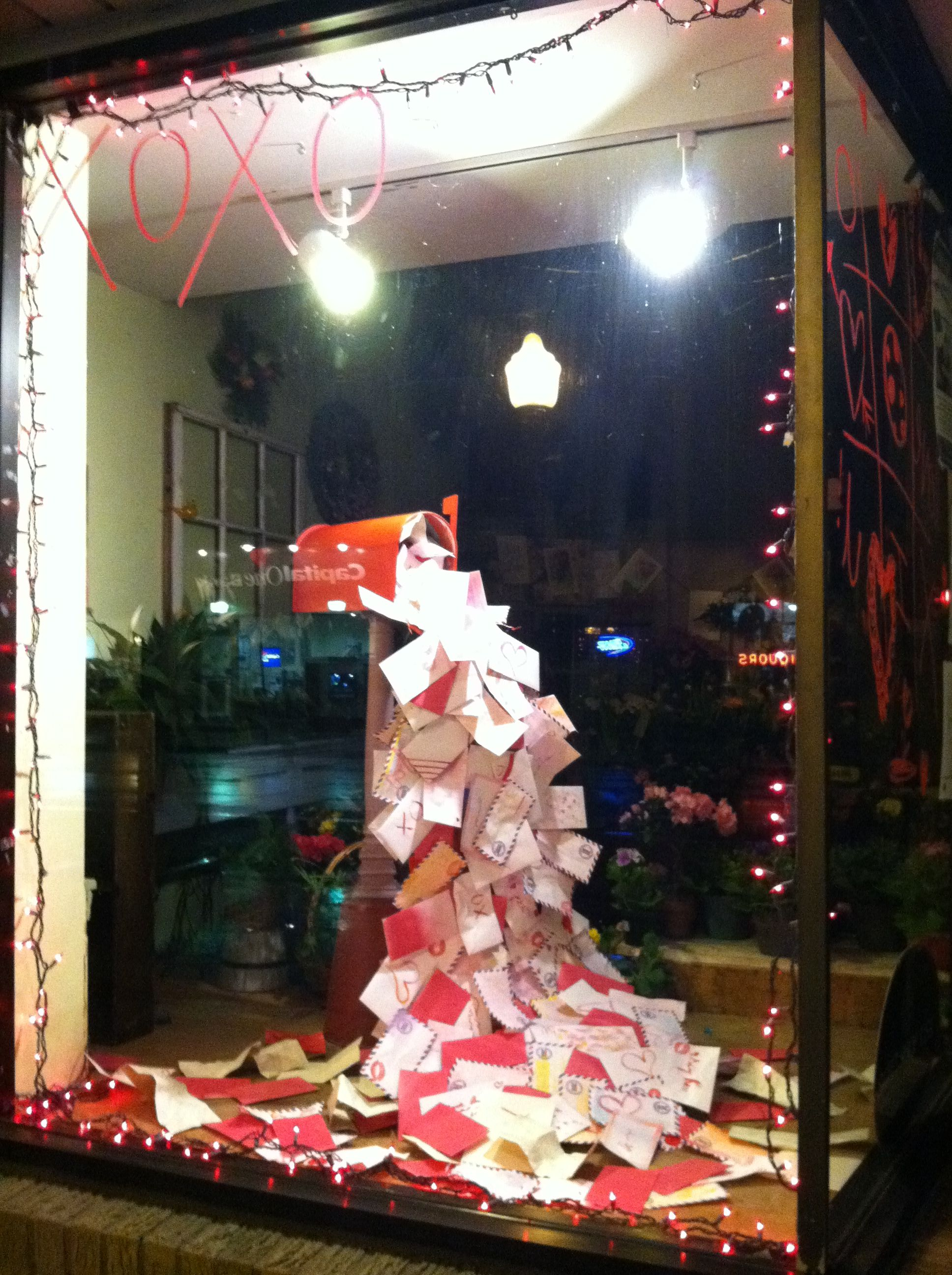 Valentines day display winter pinterest for Christmas window ideas