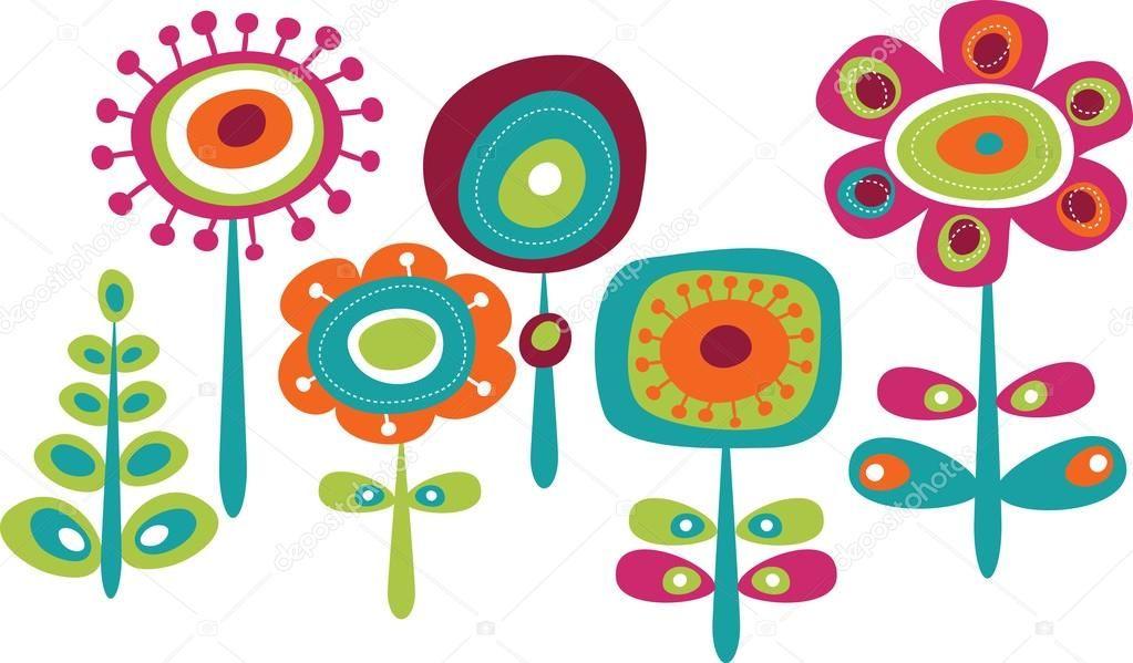 Fofos Flores Coloridas Ilustracao Vetorial Infantil Rabiscos De