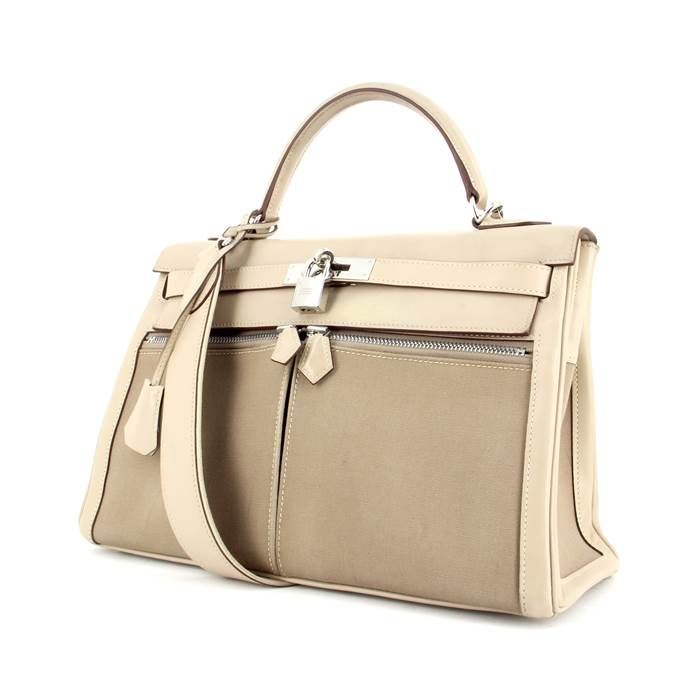 796cdde3ec93 Hermès Kelly Lakis 32 cm en Toile et Cuir Beige Purses And Handbags