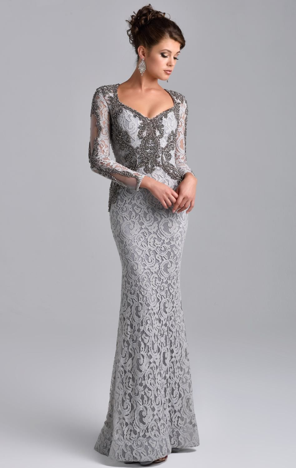Laced Long Sleeved Gown by Nina Canacci | Smart fashion | Pinterest ...