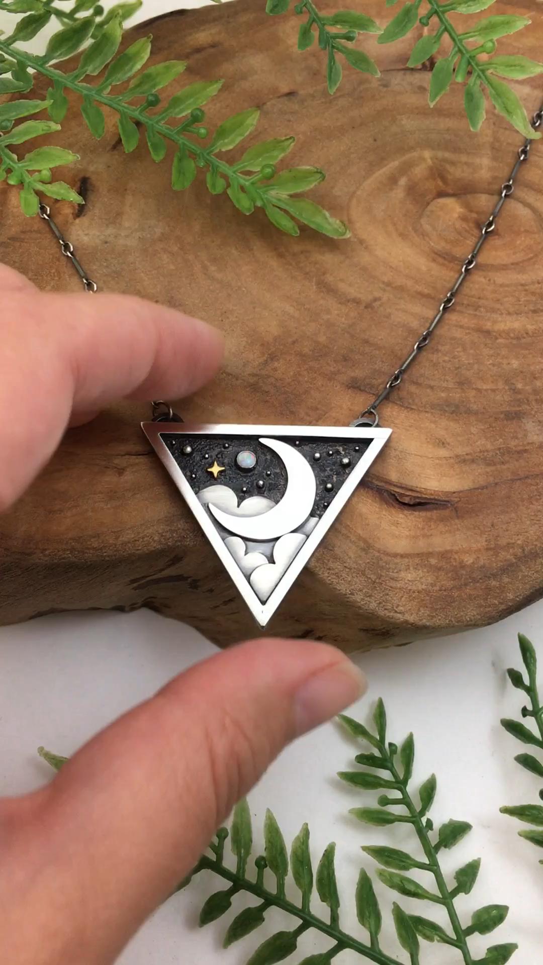 Details of a Custom Silver Moonlight Pendant