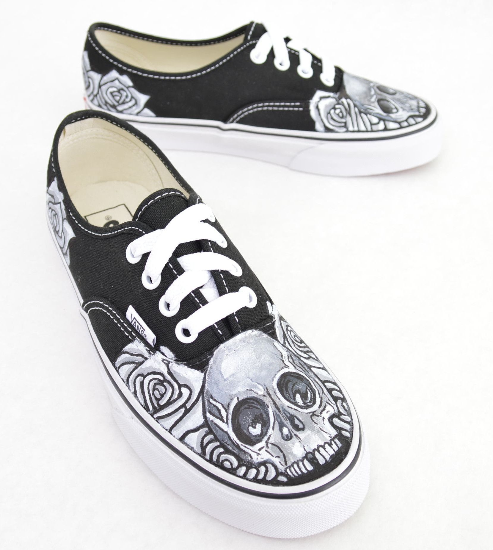 best cheap 0770b b73e3 These custom hand-painted, one-of-a-kind Black Vans Authentic Lace Up  Sneakers feature a black and white skull and rose theme. This image is  made-to-order ...