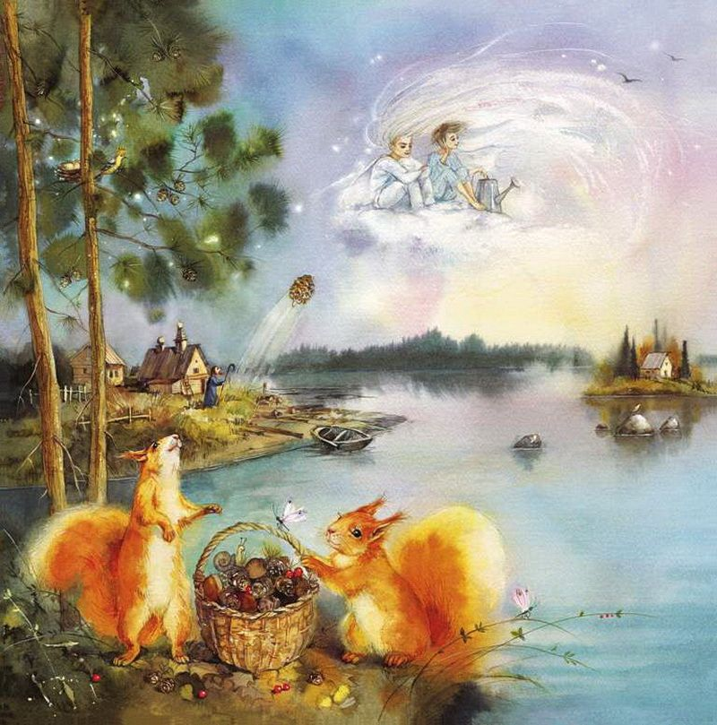 """Иллюстрации к книге """" Из жизни одного дерева"""" Елены Чистяковой._....опять встретились старые друзья – Ветер и Дождик. Вы и сами можете увидеть, как порой сидят они на облаке, о чем-то болтают, ненароком тревожа мимо пролетающих птиц.."""