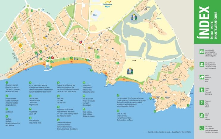 Large detailed tourist map of Salou Maps Pinterest Maps