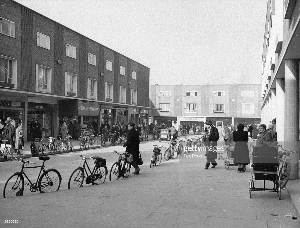 Bicycles Parked Along A Kerb In Harlow New Town New Town