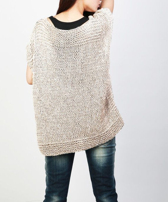 Hand knit Tunic sweater eco cotton woman sweater vest by MaxMelody ...