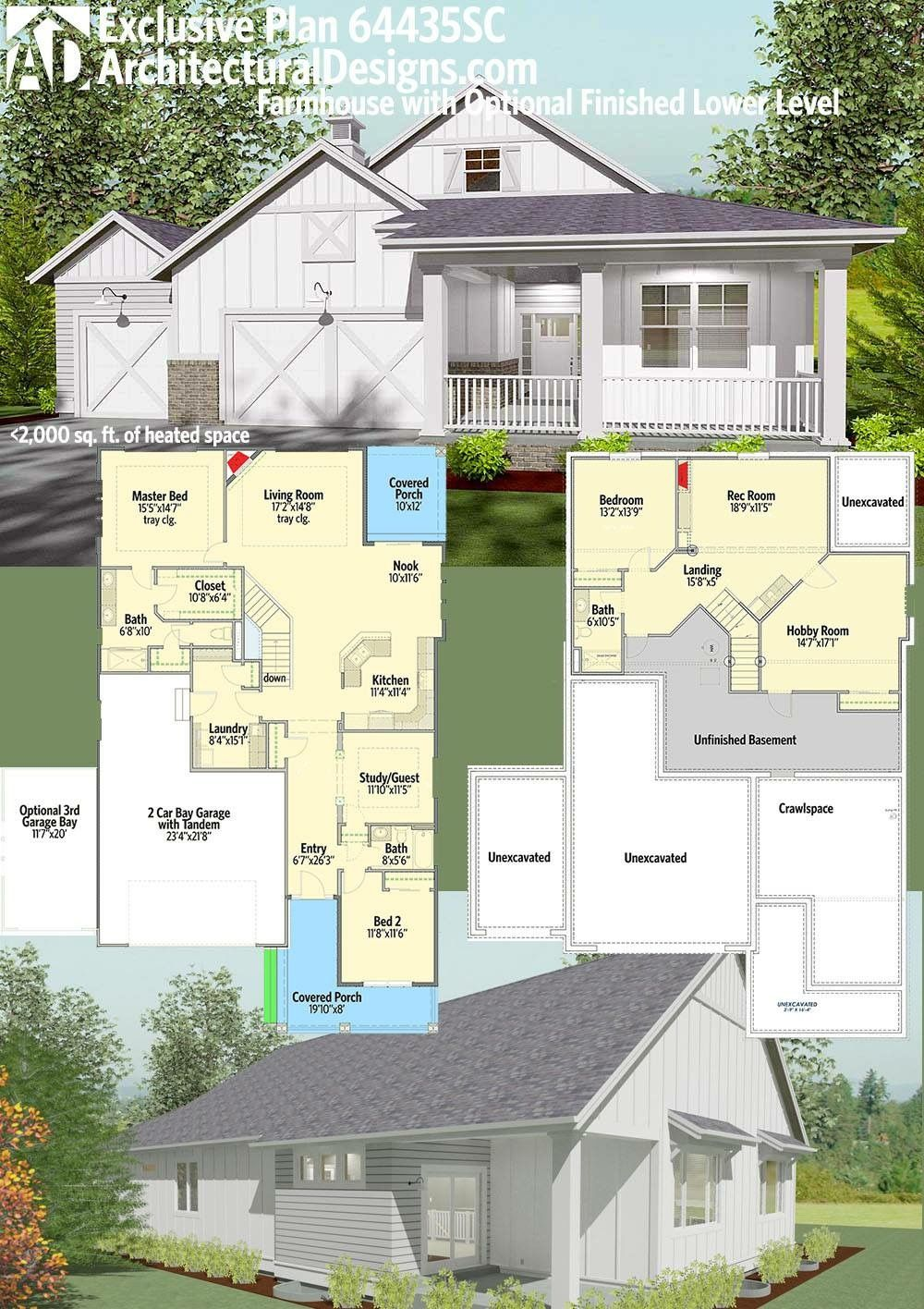 Plan 64435SC Modern Farmhouse Plan with Optional Finished