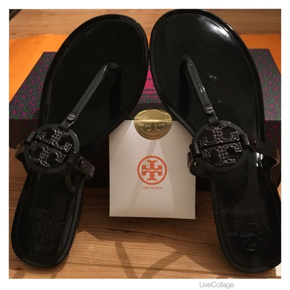 c215a424e8b234 Authentic Tory Burch Mini Miller Jelly Thong Authentic Classic Tory Burch  Black Mini Miller Jelly Thong w Crystal TB Logo. NIB. Make A Statement In  These!