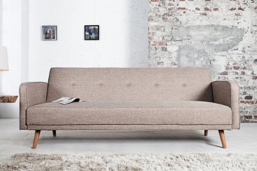 Design Schlafsofa SCANDINAVIA beige mit hochwertigem Aufbau in
