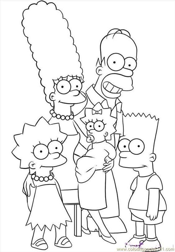 Simpsons Coloring Pages English Designs Trend
