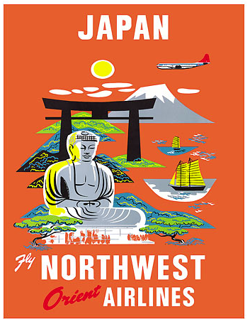 1930s Japan Northwest Orient Airlines Vintage Style Travel Poster 24x36