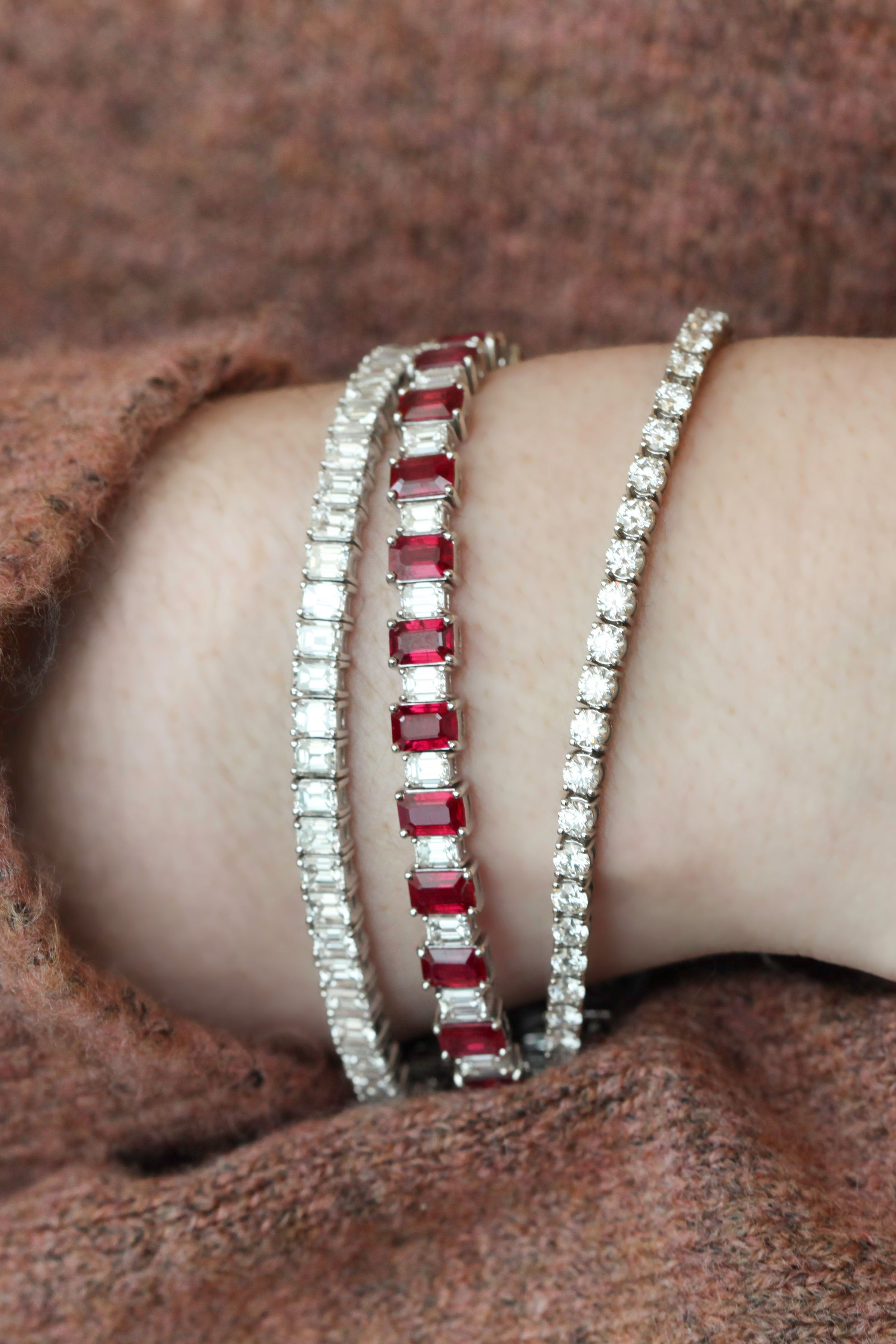 A Tennis Bracelet Stack Can Finish Off Any Outfit Perfectly Tennis Bracelet Diamond Diamond Tennis Bracelet Stack Diamond