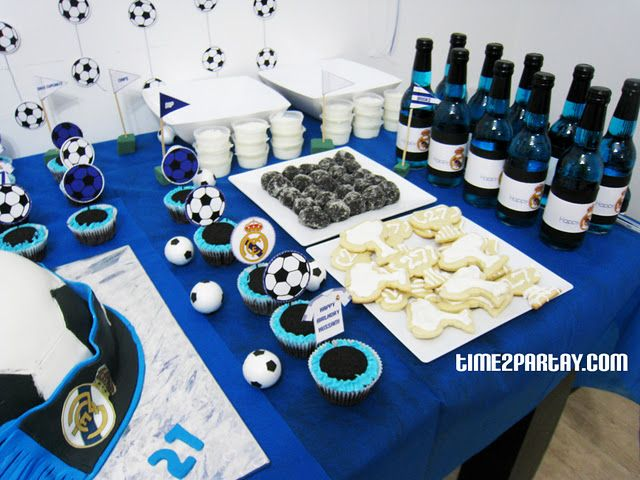 Real Madrid Soccer Themed Party Soccer Party Theme Birthday Blue White Football Birthday Party Football Theme Party Football Birthday Party Invitations