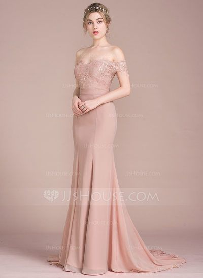 [US$ 154.19] Trumpet/Mermaid Off-the-Shoulder Court Train Chiffon Lace Prom  Dresses With Beading Sequins - JJsHouse