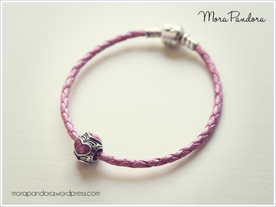 My Pandora Pink Leather Bracelet With Very Special Enamel Heart Charm
