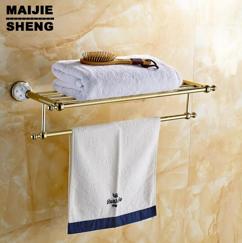 49.49$  Buy now - http://alikun.shopchina.info/go.php?t=32775252105 - High Quality Golden Finish Bath Towel Shelves Towel Bar bath hardware New arrival Towel Racks Luxury Bathroom Accesserries 49.49$ #magazineonlinewebsite