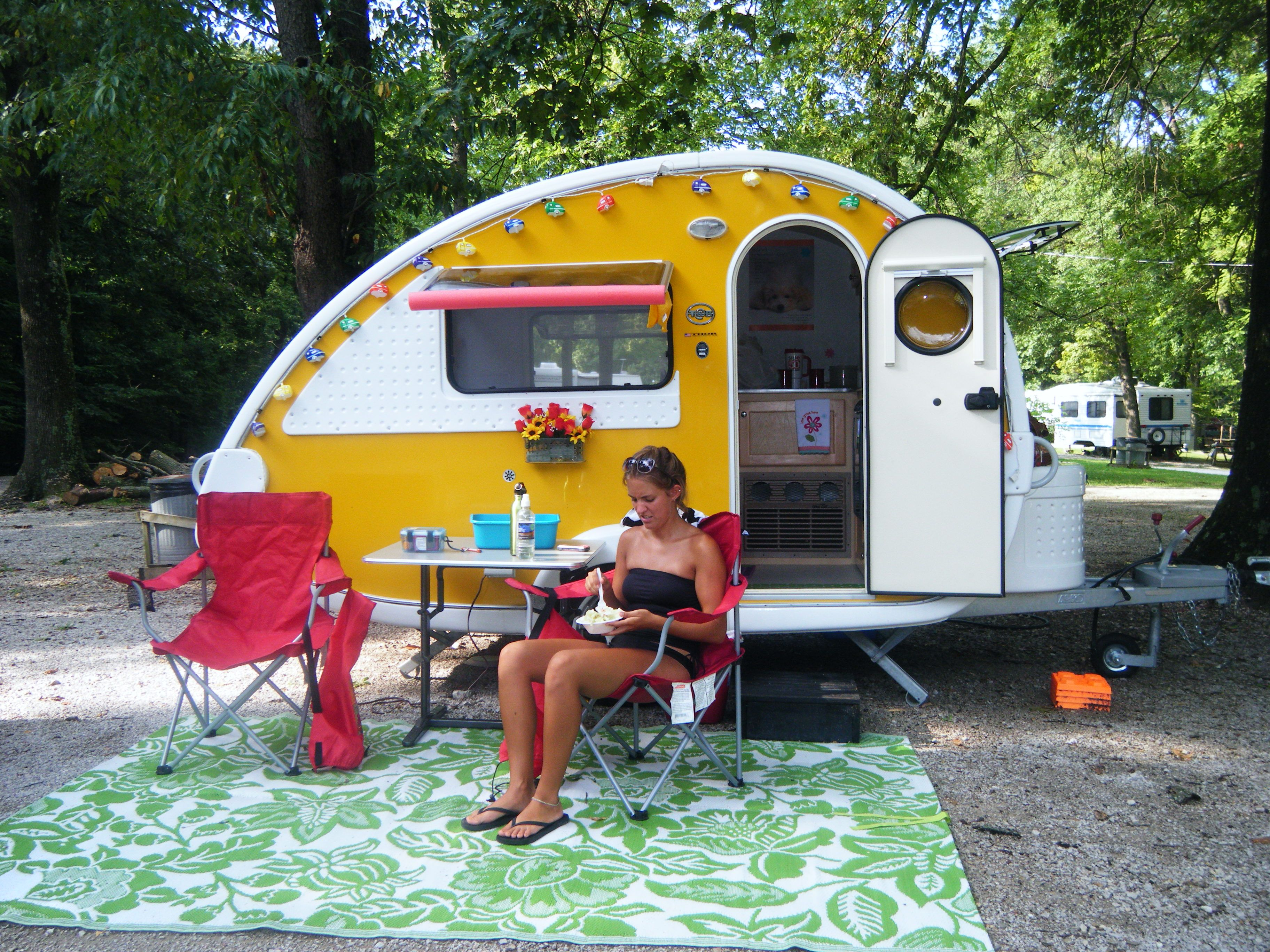 one of our daughters and our t b teardrop camper camping. Black Bedroom Furniture Sets. Home Design Ideas
