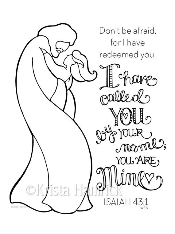 I Have Called You By Name-- Girl coloring page 8.5X11 Bible ...