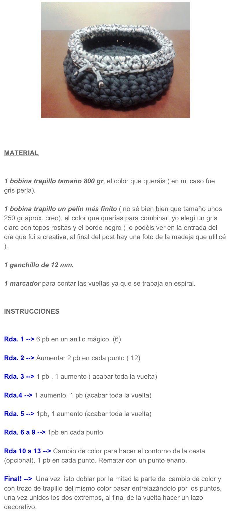 Patrón cesta trapillo | Ideas para manualidades | Pinterest | Cestas ...