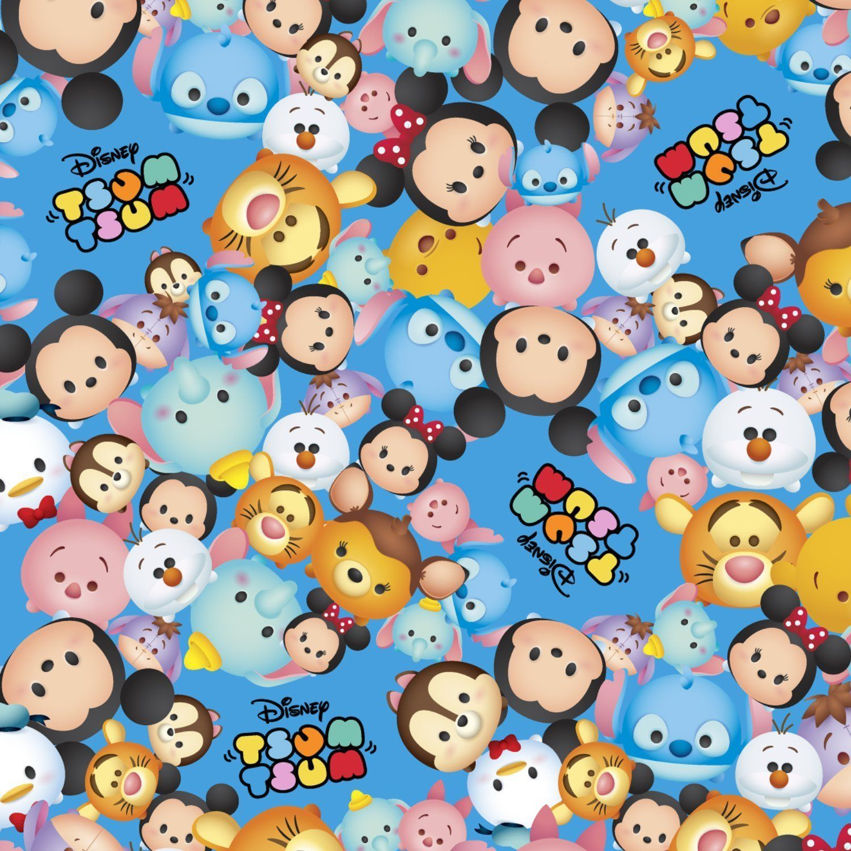 Tsum Tsum Mickey Tigger Winnie the Pooh Blue Disney Fabric Springs YARD