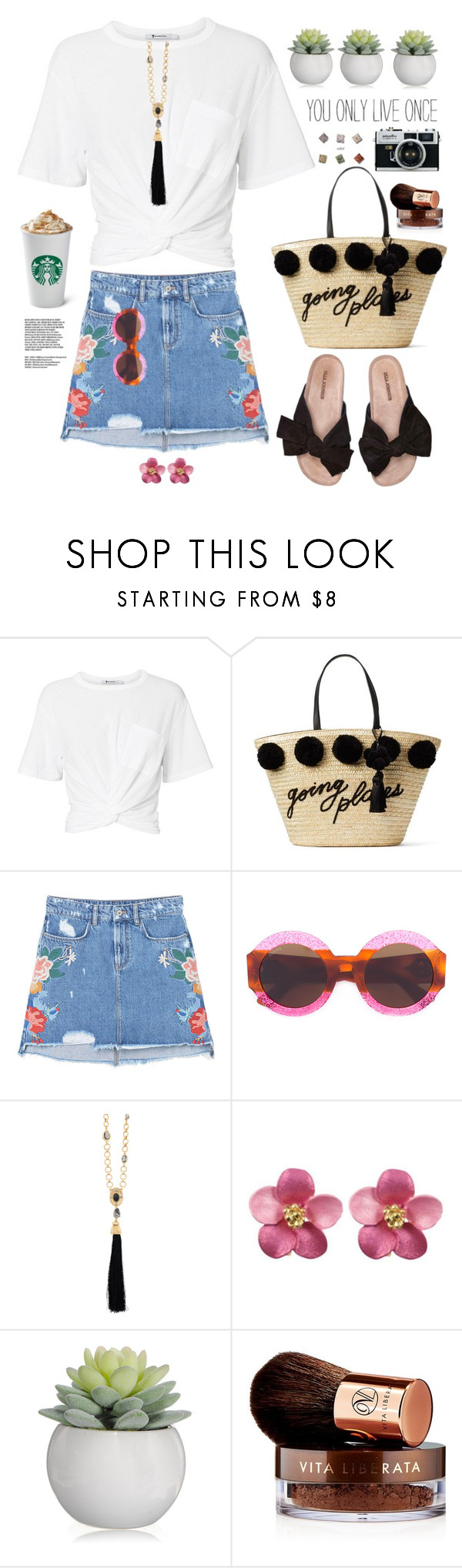 """""""You only live once"""" by hamaly ❤ liked on Polyvore featuring T By Alexander Wang, Kate Spade, MANGO, Gucci, Oscar de la Renta, Vita Liberata, outfit, ootd, trends and denimskirt"""