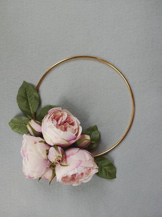 Photo of 8″ Light Pink Peony Wreath, Pink Hoop Wreath, Minimalist Wreath, Gold Hoop Wreat…