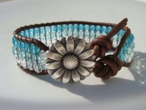 Teal Ombre Beaded Leather Bracelet with Flower Button by Tina610