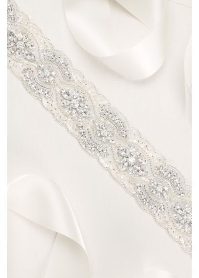 130 David S Bridal Alternating Scallop Beaded Sash S2034