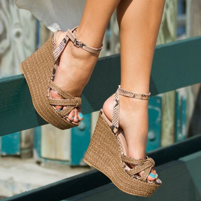braided platform and knotted toe strap sandal