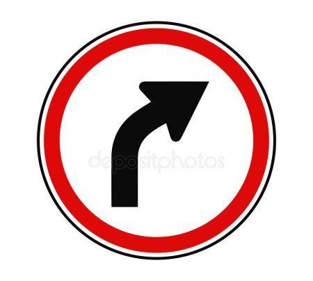 Turn Right Ahead Traffic Sign Vector Illustration  Stock Vector